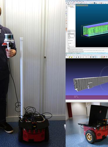 Le scanner et son robot ainsi que les plans numérisés. ©Agglo/V.Biard